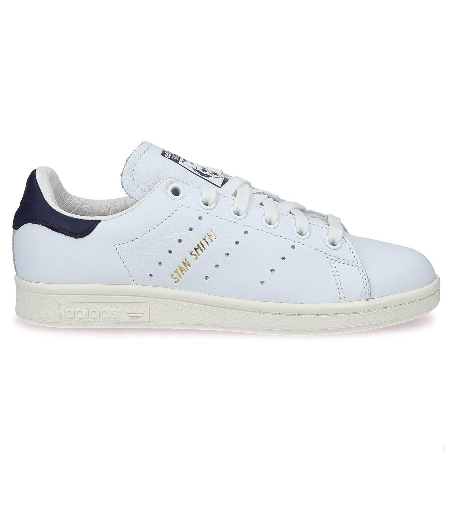 adidas Originals Stan Smith Baskets en cuir Blanc et bleu marine